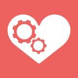 Settings heart. settings icon vector. Settings heart. Settings icon inside heart background vector illustration EPS10 Stock Photos