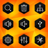 Settings. Hexagonal icons set on abstract orange b Stock Photos