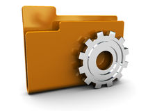 Settings icon. 3d illustration of folder icon with gear wheel stock illustration