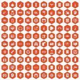 100 settings icons hexagon orange Stock Photo