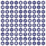 100 settings icons hexagon purple. 100 settings icons set in purple hexagon isolated vector illustration Stock Illustration