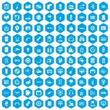 100 settings icons set blue. 100 settings icons set in blue hexagon isolated vector illustration royalty free illustration