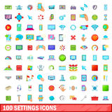 100 settings icons set, cartoon style. 100 settings icons set in cartoon style for any design vector illustration Royalty Free Stock Photos