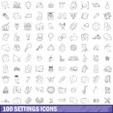 100 settings icons set, outline style. 100 settings icons set in outline style for any design vector illustration Royalty Free Stock Photo