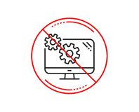 Settings line icon. Cogwheel engineering tool sign. Vector. No or stop sign. Settings line icon. Cogwheel engineering tool sign. Cog gear symbol. Caution vector illustration