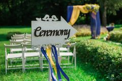 Settings for outdoors wedding ceremony and celebration Royalty Free Stock Image