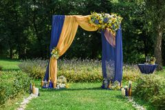 Settings for outdoors wedding ceremony and celebration Stock Photo
