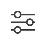 Settings sliders line simple icon. Outline vector sign, linear style pictogram isolated on white. Preferences symbol, logo illustration. Editable stroke. Pixel Stock Image