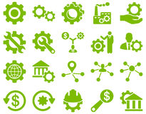 Settings and Tools Icons. Glyph set style is flat images, eco green color, isolated on a white background Royalty Free Stock Image