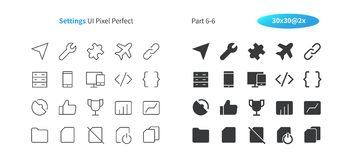 Settings UI Pixel Perfect Well-crafted Vector Thin Line And Solid Icons 30 2x Grid for Web Graphics and Apps. Simple Minimal Pictogram Part 6-6 Stock Photo