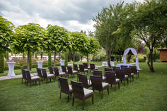 Settings for a wedding in garden Royalty Free Stock Photo