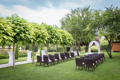 Settings for a wedding in the garden Royalty Free Stock Images
