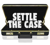 Settle the Case Finish Lawsuit Briefcase Negotiate Settlement De. Settle the Case words in white 3d letters in a black leather briefcase to illustrate settling a Stock Image