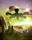 Settled alien landscape royalty free illustration