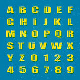 Settled ua. Mosaic style alphabet letters and numbers. vector font type design. lettering puzzle yellow elements. bold typesetting. regular typeface template Royalty Free Stock Photo