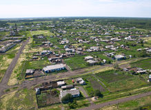 Settlement. Settlement in Siberia. Bird's eye view Stock Photo