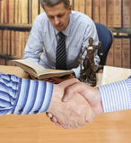 Settlement agreement. Against the background of lawyer or notary Royalty Free Stock Image