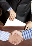 Settlement agreement. Against the background of lawyer or notary Royalty Free Stock Photos
