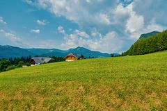Settlement in Alps Stock Photography