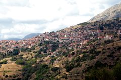 Settlement Arachova, Greece. ARACHOVA, GREECE - SEPTEMBER 19, 2012: It is a small mountain settlement located on one of the slopes of Mount Parnassus Royalty Free Stock Image