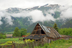 Settlement Arkhyz in the Caucasus, old barn Royalty Free Stock Photos