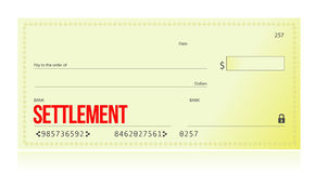 Settlement bank check Stock Photos