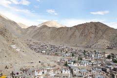 Settlement in a beautiful valley of Himalayan mountain in Leh Stock Photos