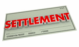 Settlement Check Agreement Payout Word. 3d Illustration Stock Images