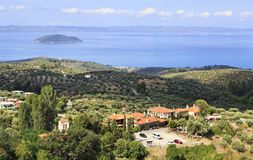 Settlement on the coast of Aegean Sea. Stock Images