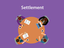 Settlement concept discussion illustration with for people meeting on a table with paperworks on top of the table. Vector stock illustration