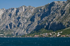 Settlement at the foot of the mountain. Kotor's bay, Montenegro Royalty Free Stock Photo