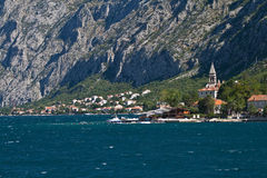 Settlement at the foot of the mountain. Kotor's bay, Montenegro Stock Photo