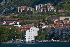 Settlement at the foot of mountain, Bay of Kotor Royalty Free Stock Photos