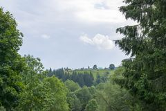 Settlement on a hill in the Carpathians Royalty Free Stock Images