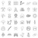 Settlement icons set, outline style. Settlement icons set. Outline style of 36 settlement vector icons for web isolated on white background Stock Image
