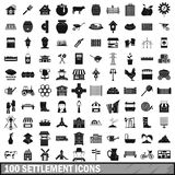 100 settlement icons set, simple style. 100 settlement icons set in simple style for any design vector illustration vector illustration