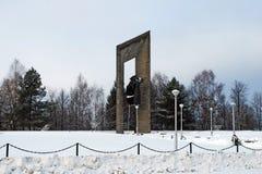 Settlement of Karmanovo. Mass grave No. 4 military memorial. Smolensk region. Russia. Settlement of Karmanovo. January 16, 2012. Mass grave No. 4 military royalty free stock photography