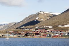 Settlement of Longyearbyen on Svalbard, Spitsbergen, Norway. Settlement and industrial area of Longyearbyen on Svalbard, Spitsbergen, Norway Stock Photography