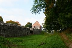The settlement at a medieval castle of Trakay Stock Image