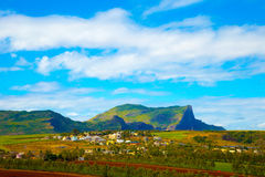 Settlement at Mount Bodyguard in Mauritius. Small rural village in the mountains in the north of Mauritius Bodyguard royalty free stock image