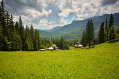 Settlement in the mountain meadow Stock Photography