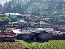 Settlement. On a mountain slope in Karanganyar, Central Java, Indonesia Stock Photography