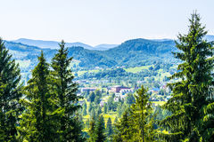 Settlement in mountains. Picturesque settlement in Carpathian mountains  of Ukraine. Houses, green fields, mountain peaks Royalty Free Stock Photo