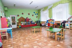 The class kindergarten, class in primary school, playschool. royalty free stock photo