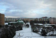Winter Petržalka - Concrete jungle. Settlement Petržalka in Bratislava royalty free stock photography