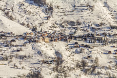 Settlement at Switzerland Alps. Small settlement on the mountain Stock Images
