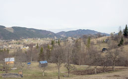 Settlement in the valley of Carpathian Mountains. Stock Photos