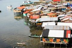 Settlement on water in Cebu city Philippines. Everyday life of filipinos. Settlement on water in Cebu city Philippines royalty free stock photos