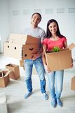 Settlers with boxes Royalty Free Stock Photography