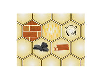Settlers of Catan. Cartoon illustration of Settles of Catan Game Pieces Royalty Free Stock Photography